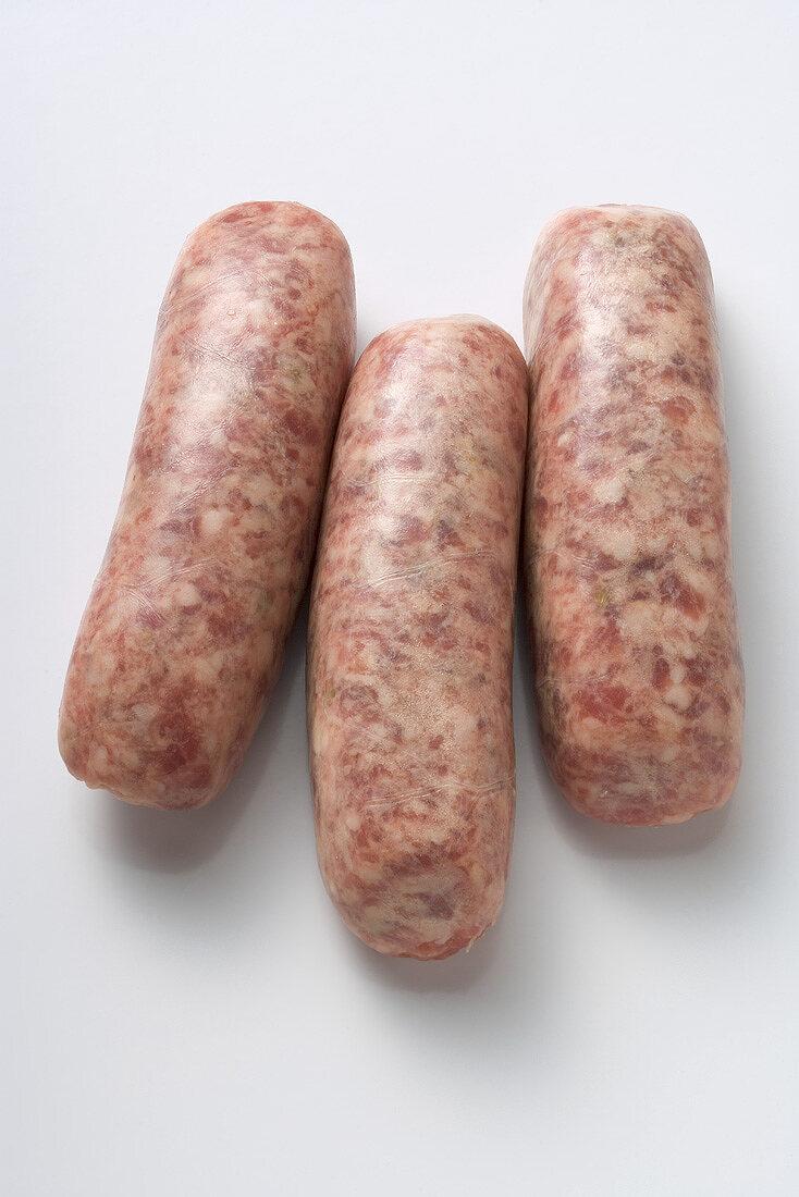 Three Nuremberg sausages