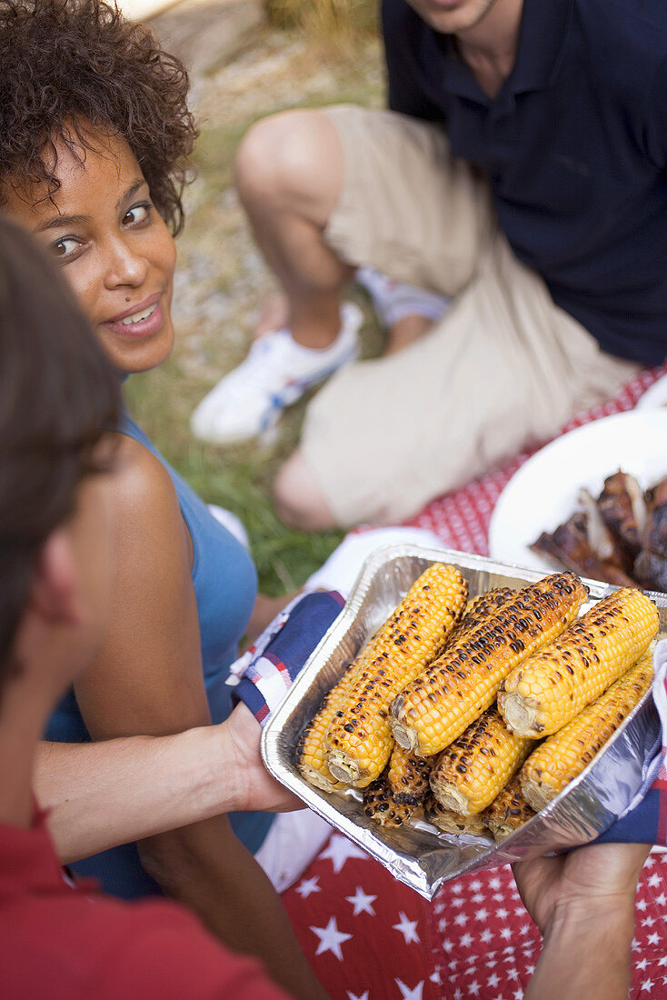 Young people at a 4th of July barbecue (USA)