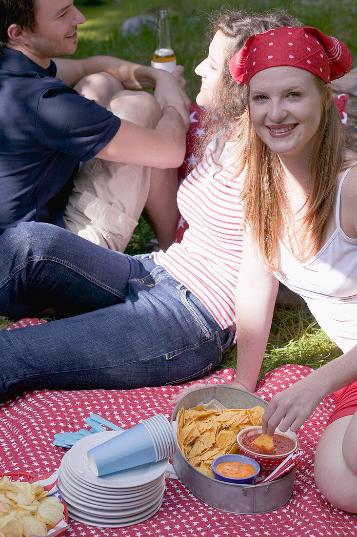 Young people at a 4th of July picnic (USA)