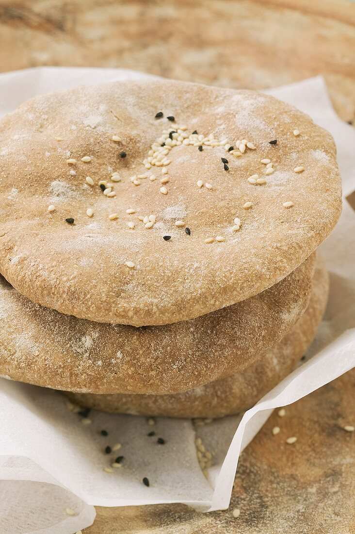Flatbread with sesame seeds, stacked