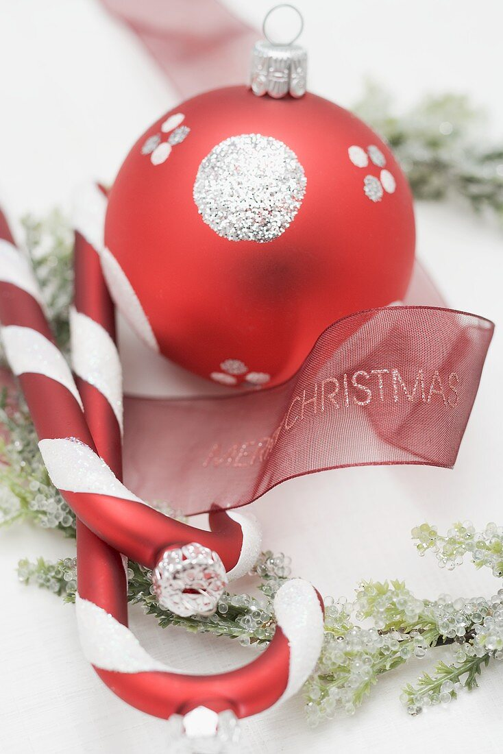 Christmas tree ornaments with ribbon and Christmas wreath
