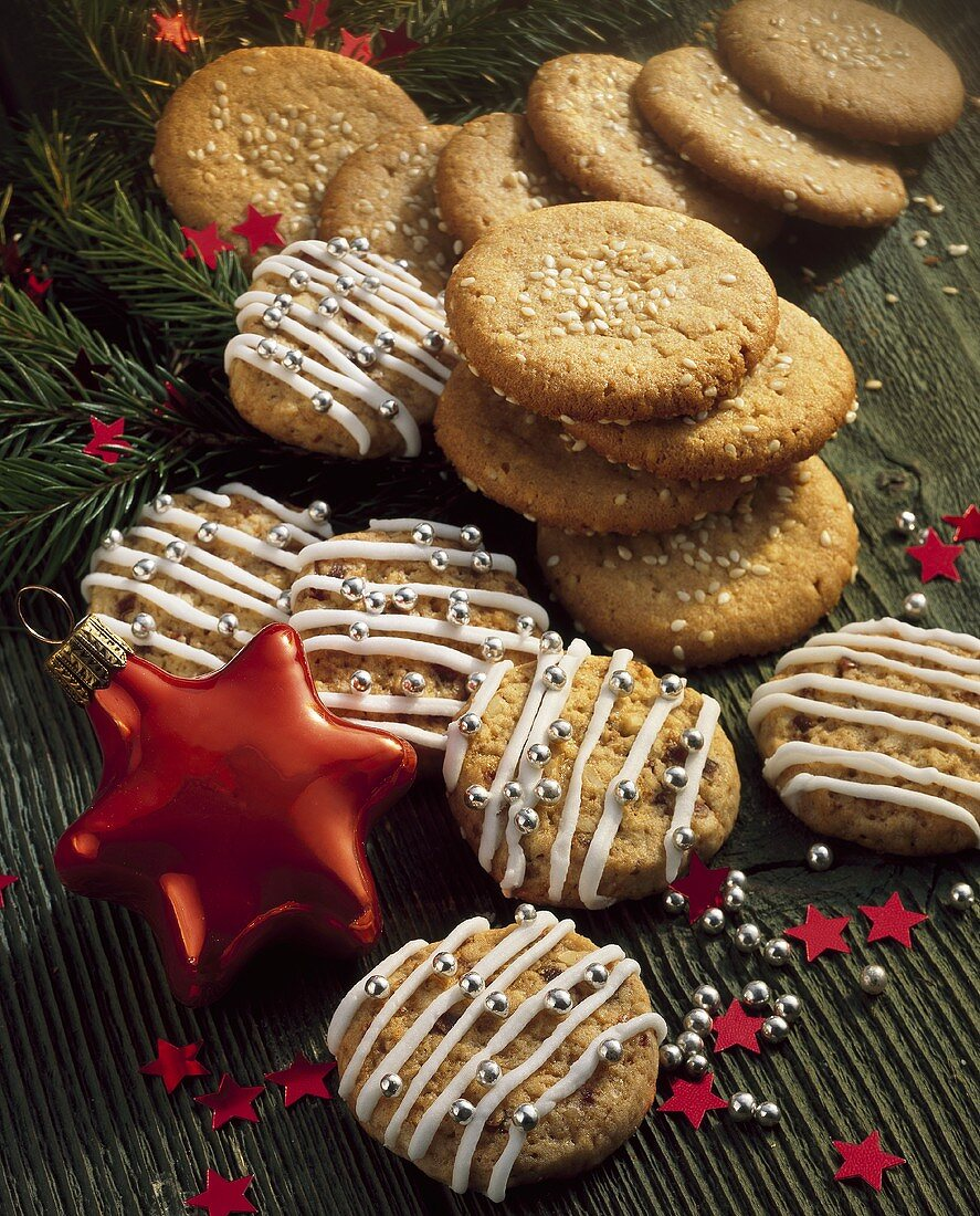 Peanut biscuits with sesame seeds and date & walnut biscuits