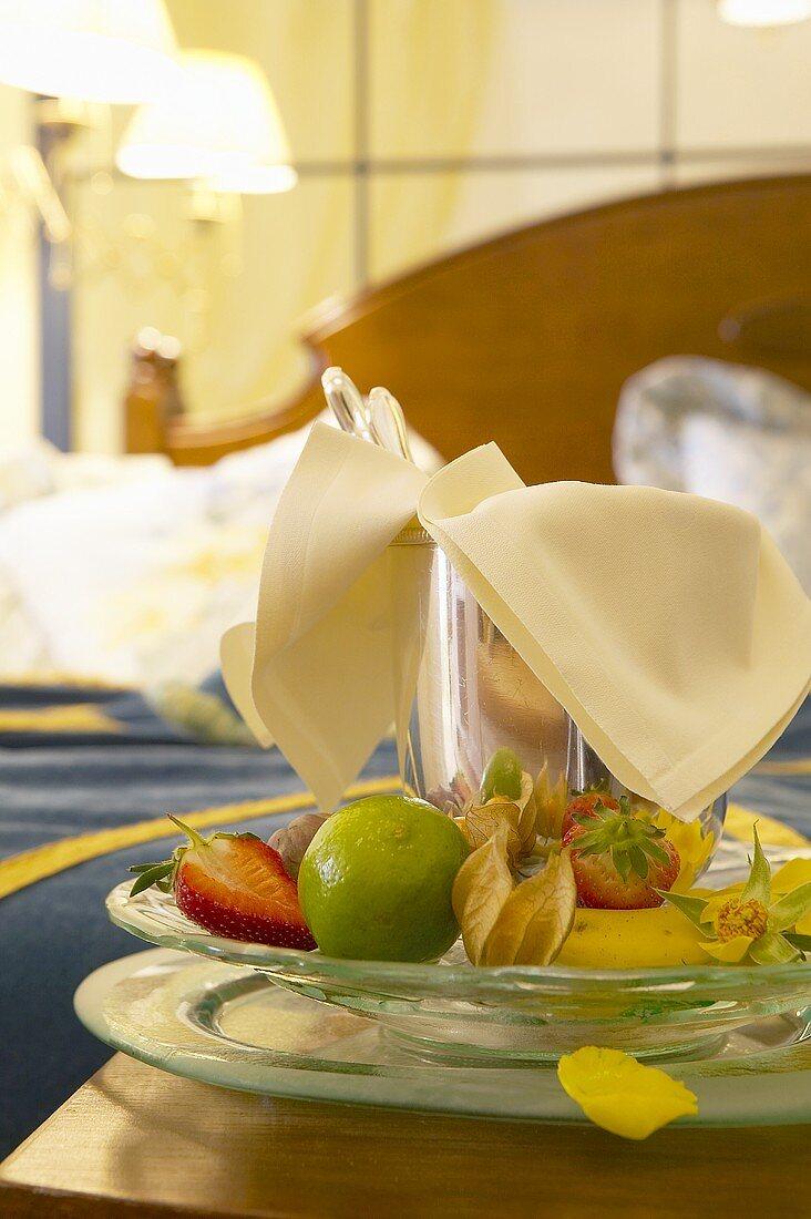 Fresh fruit for breakfast in a hotel room