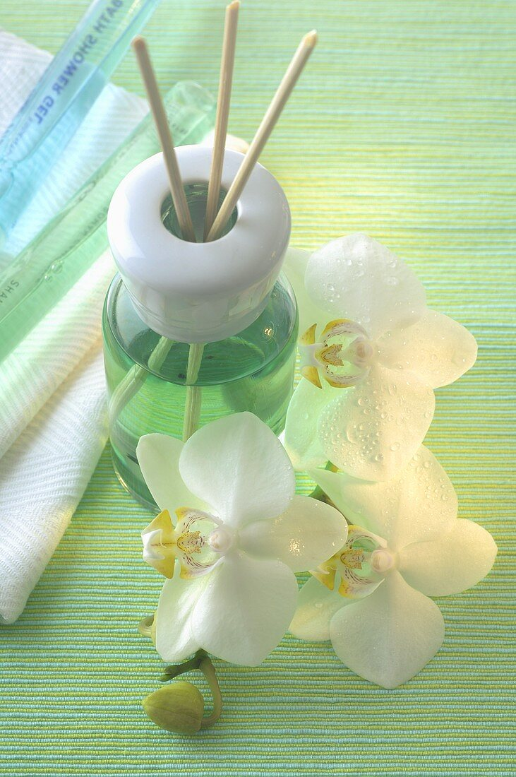 Fragrance diffuser with aroma sticks and orchids