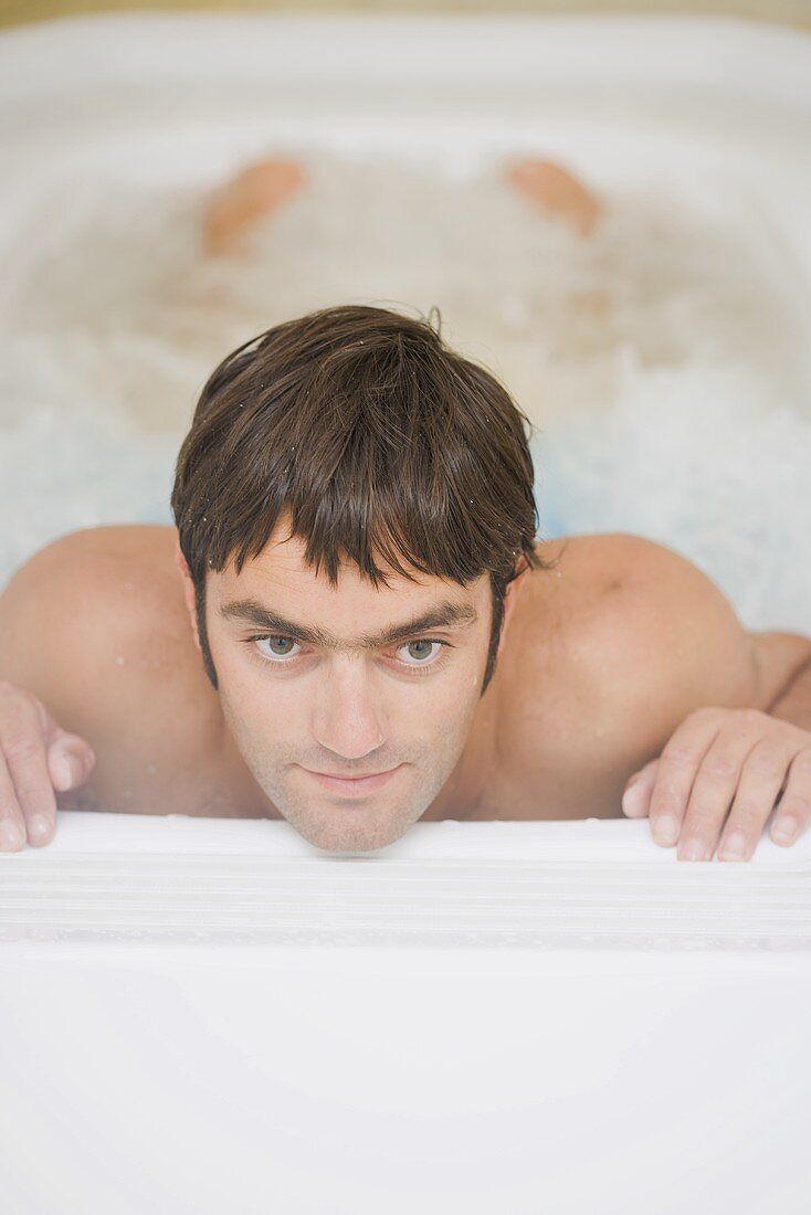 Young man in a whirlpool
