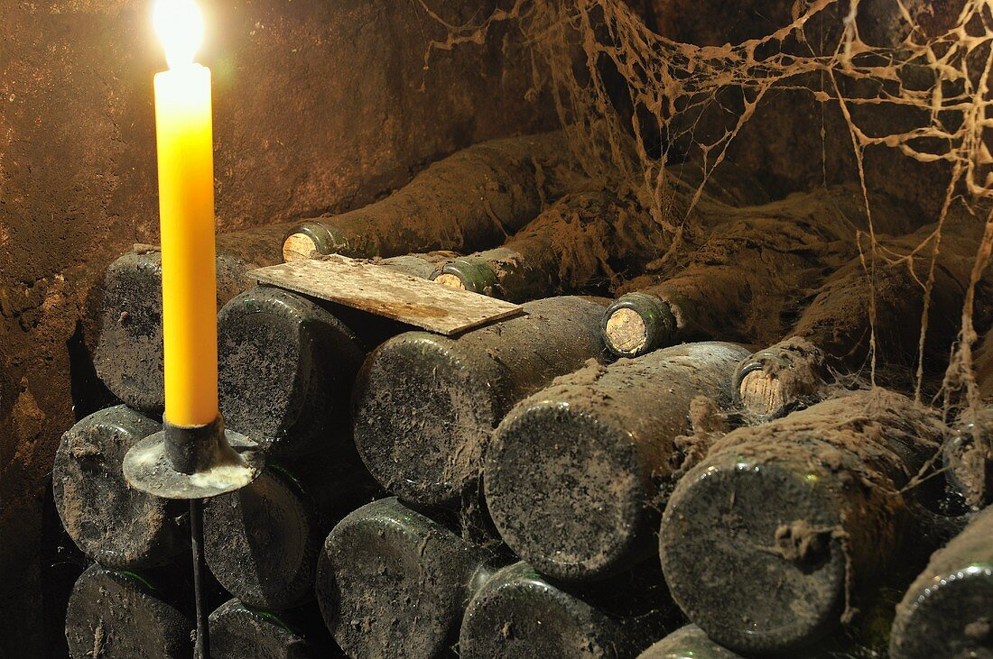 Old wine bottles in wine cellar with candle