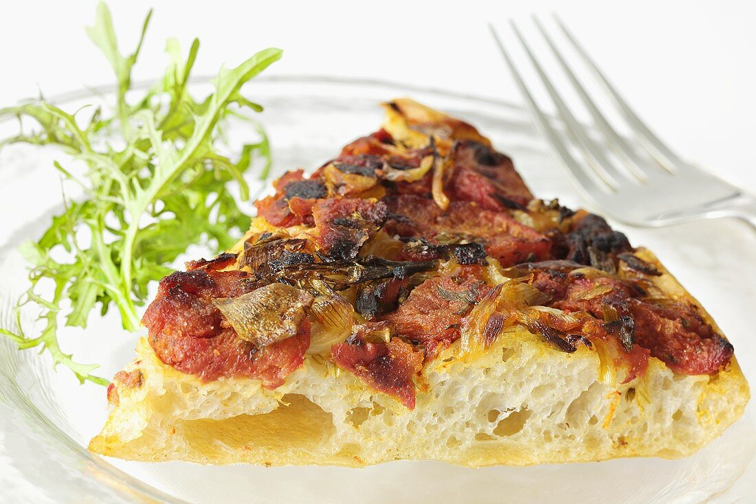 Focaccia with tomatoes and onions