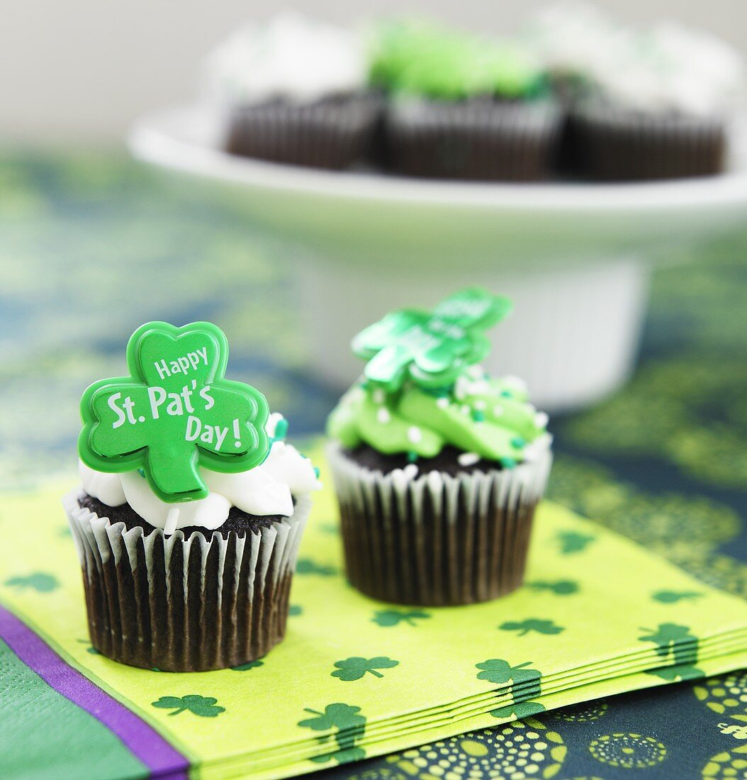 Two Chocolate Happy St. Patrick's Day Cupcakes