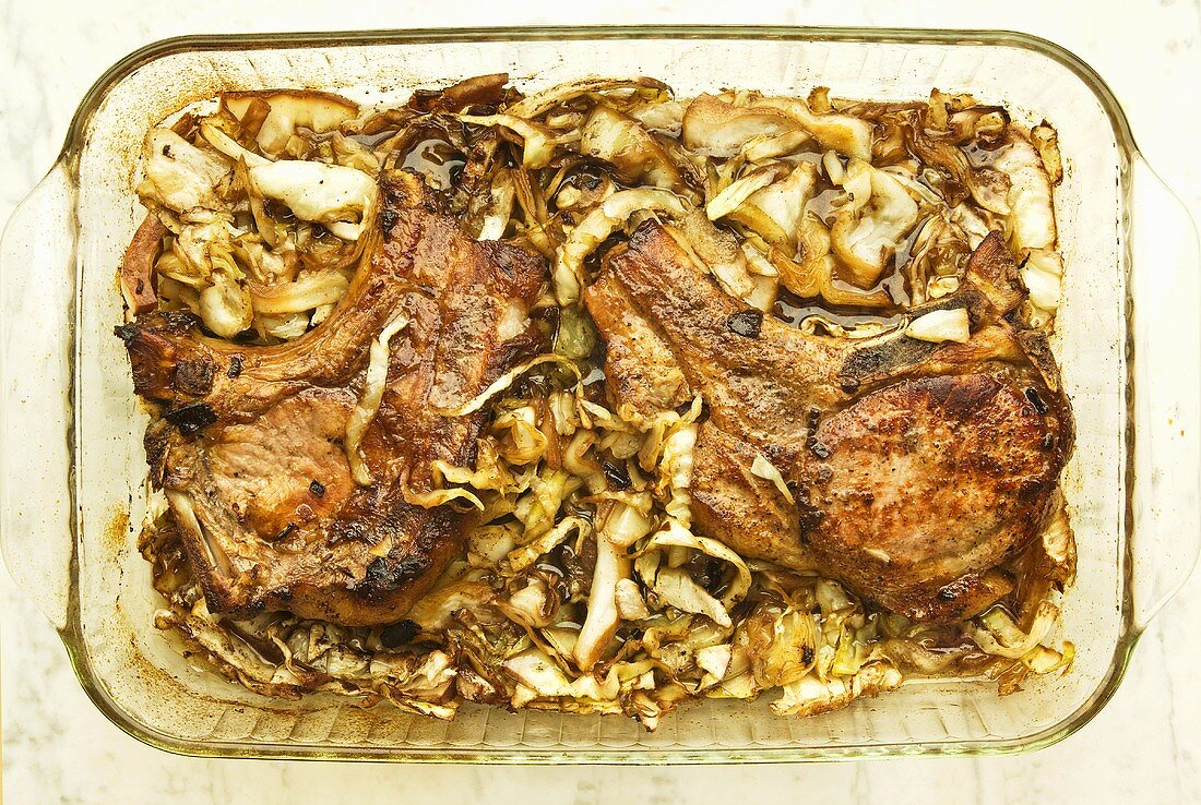Baked Pork Chop and Cabbage in Baking Dish