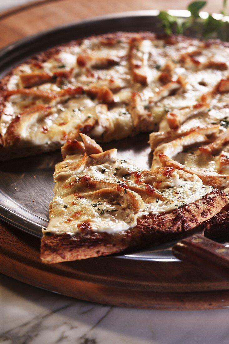 Pizza on Pizza Pan; Piece on Spatula