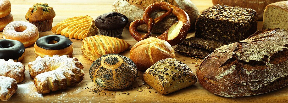 Various breads, rolls and sweet confectionary