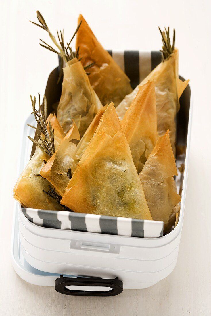 Greek samosas (feta-spinach filling and fig-walnut filling) for a picnic