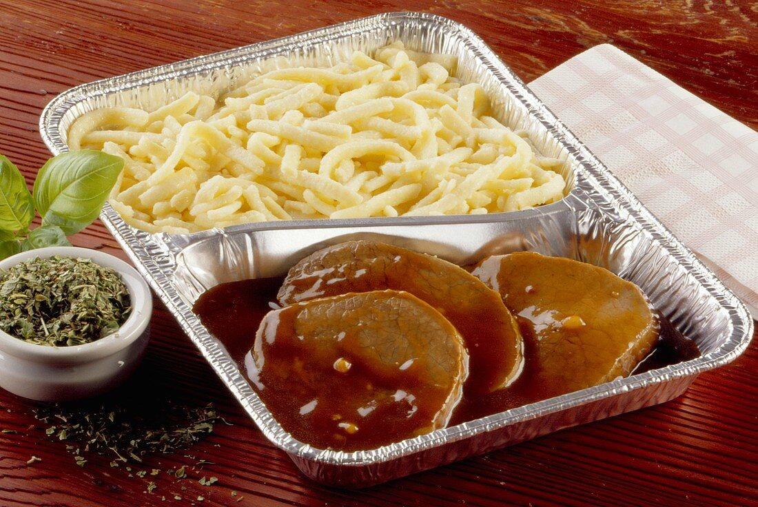Rhineland Sauerbraten (marinated beef) with spaetzle noodles