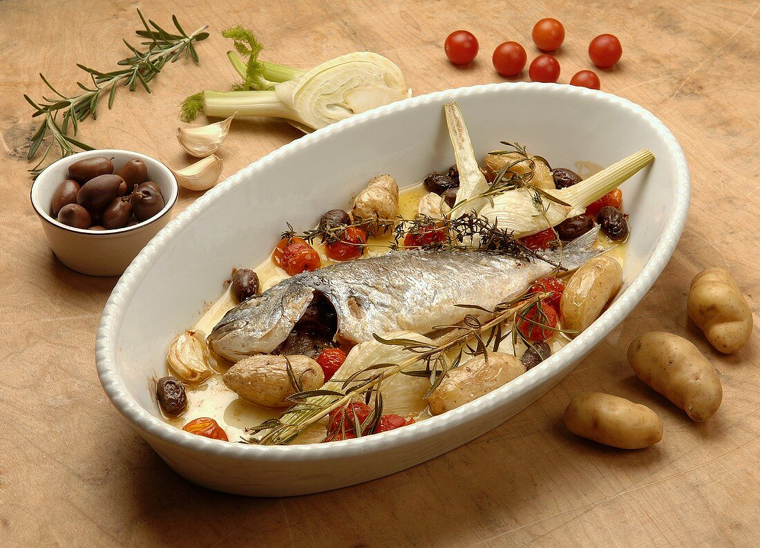 Sea bream with potatoes and herbs