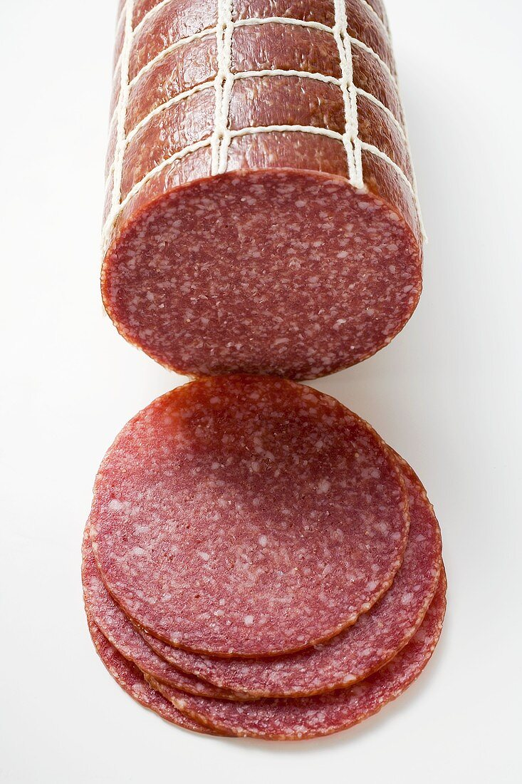 Salami, a piece and slices