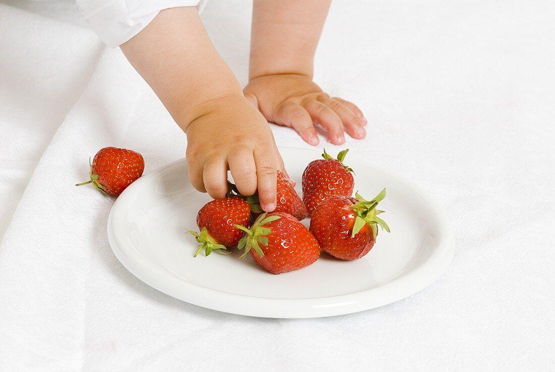 Child's hands reaching for fresh strawberries
