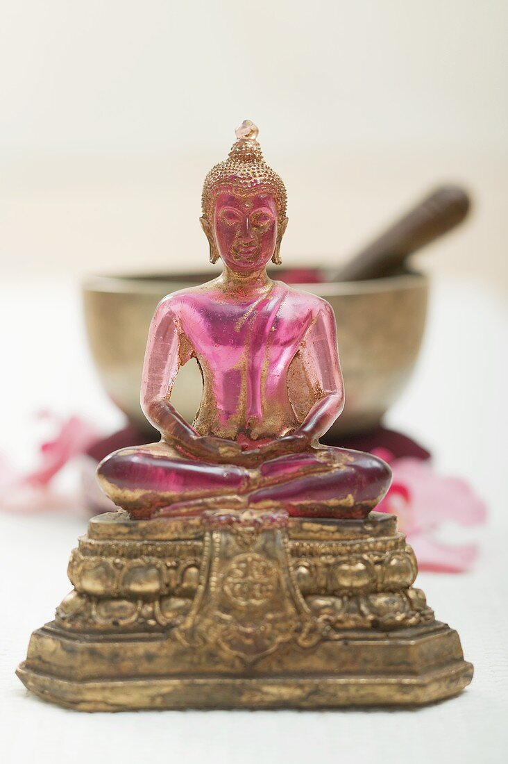 An Asian religious figure with singing bowl