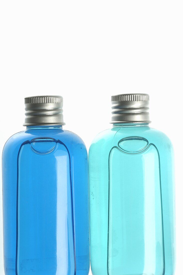 Small bottles in blue