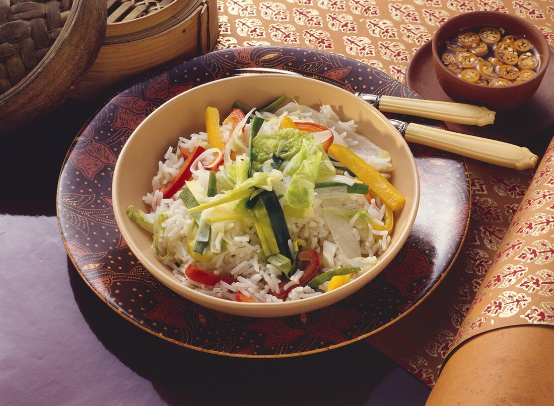 Steamed Rice with Bell Pepper and Leek