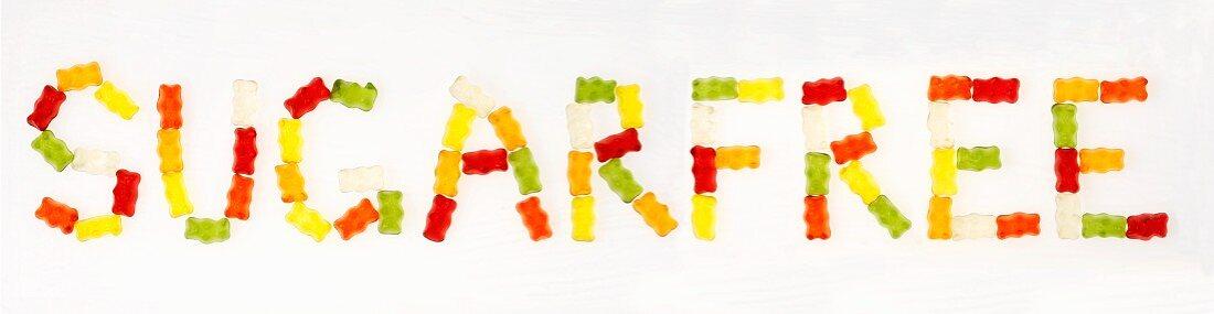 'Sugarfree' written in Gummi bears