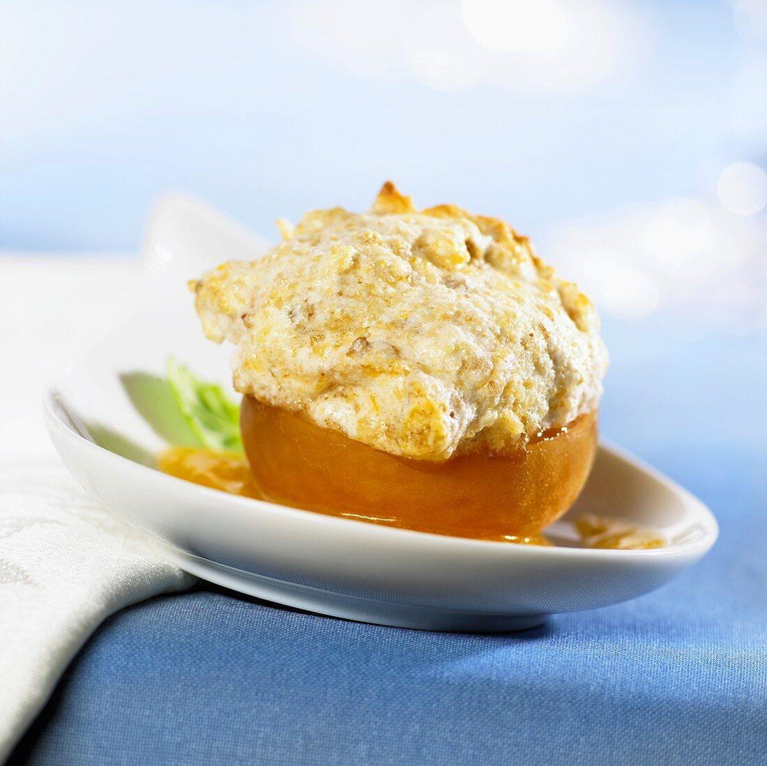 Apricot stuffed with Amaretto almond foam