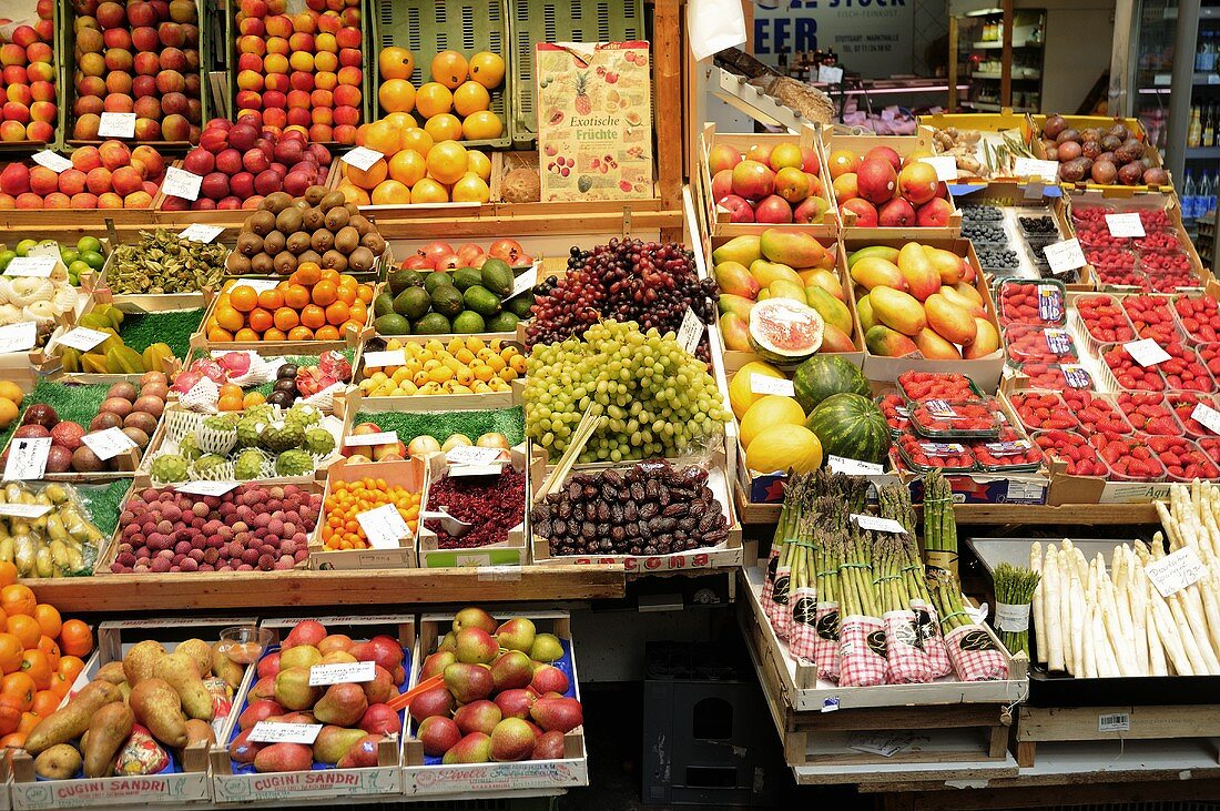 Grocery stall with fruit and vegetables