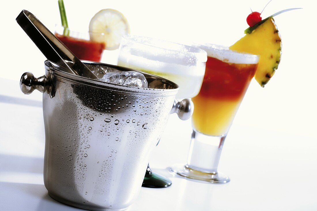 Drinks behind ice box, tilt view