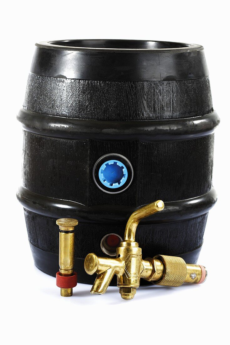 Beer barrel with tap, close-up