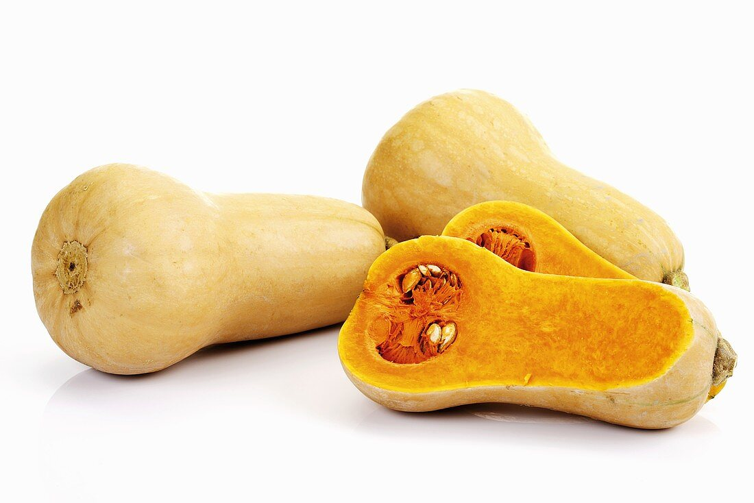 Butternut squashes, whole and halved