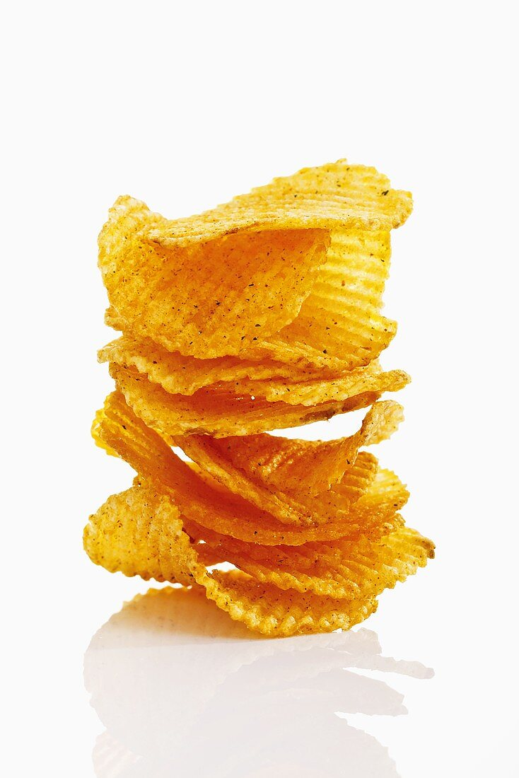 Stack of potato chilli chips, close-up