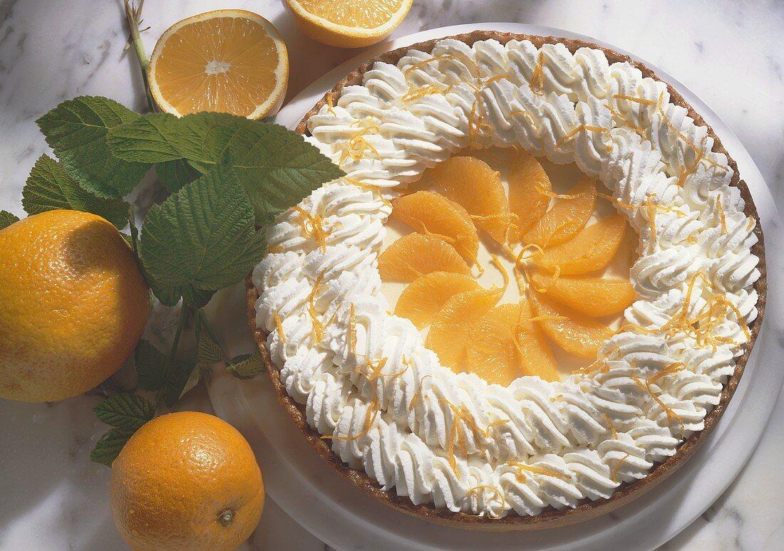 Orange gateau with cream