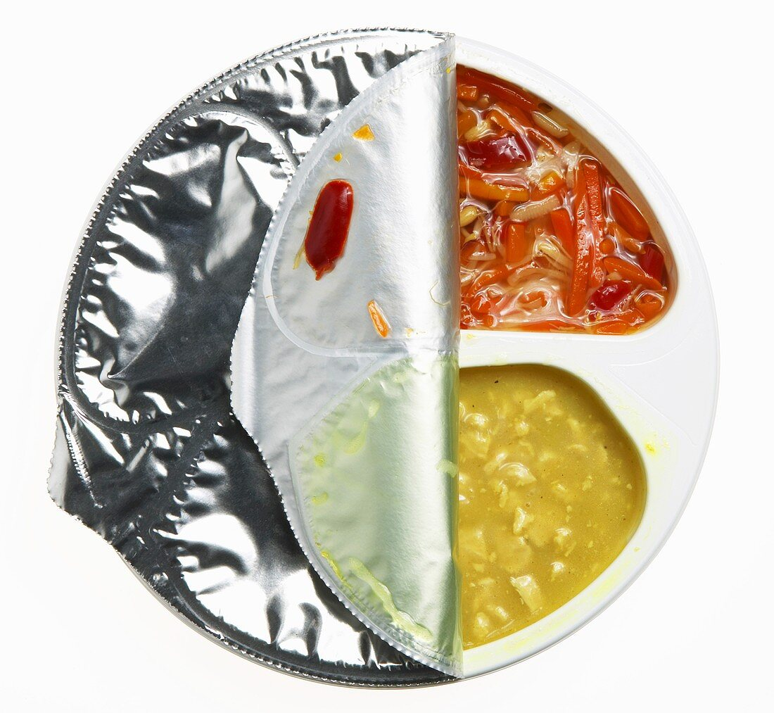 Packaged curry chicken and vegetables, convenience product