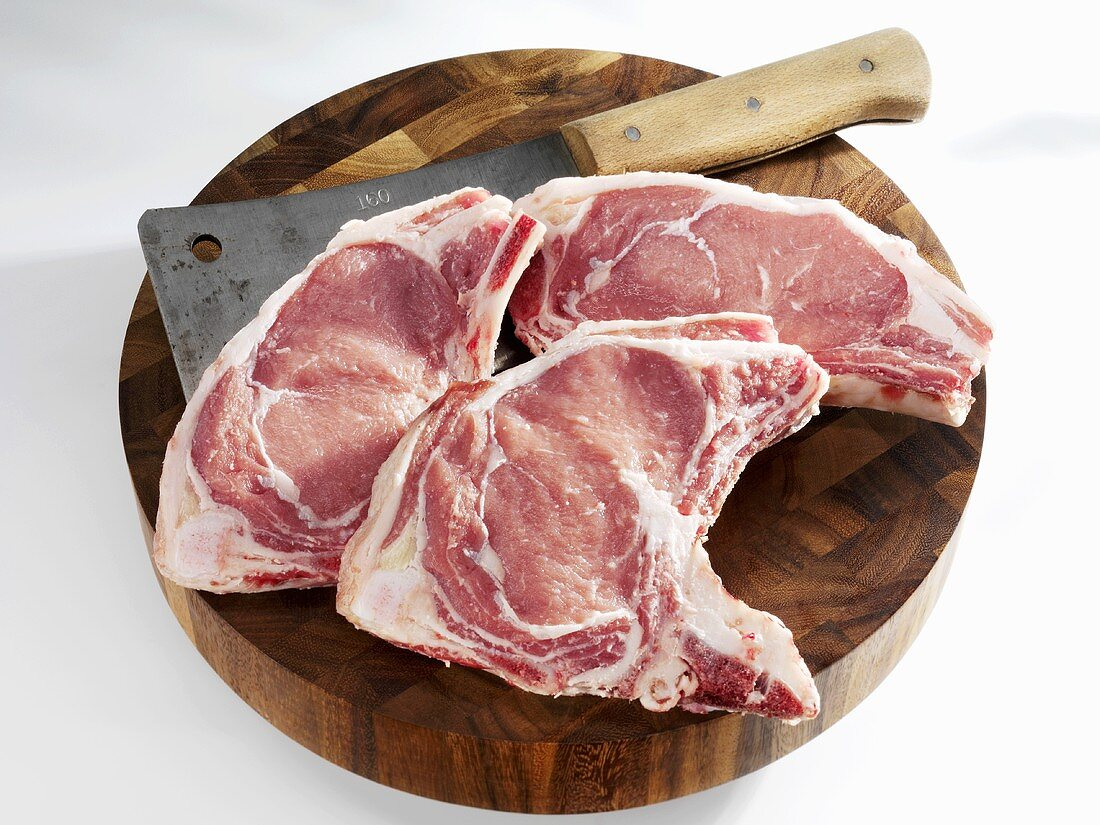 Veal chops with meat cleaver