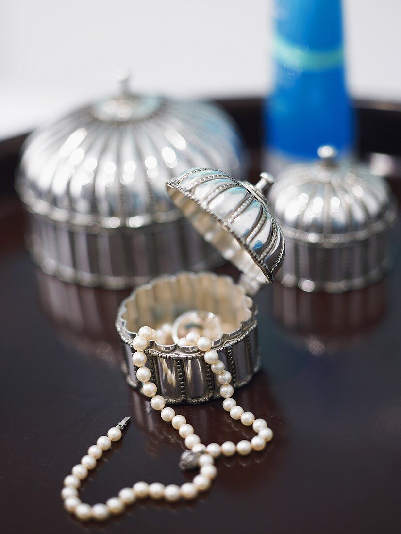 String of pearls in jewellery box