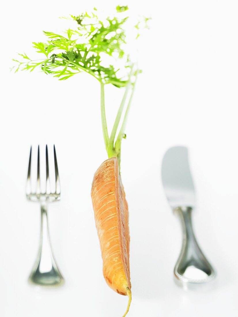 Knife and fork and half a carrot