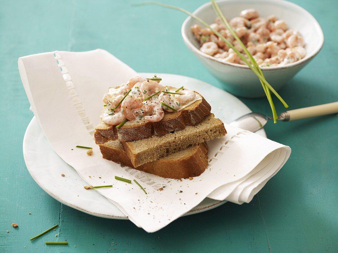 Shrimp salad on bread