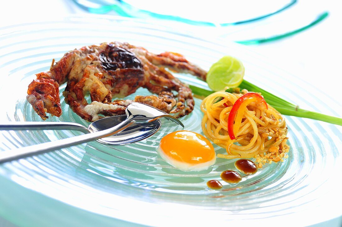 Linguine Pad Thai with soft shell crab