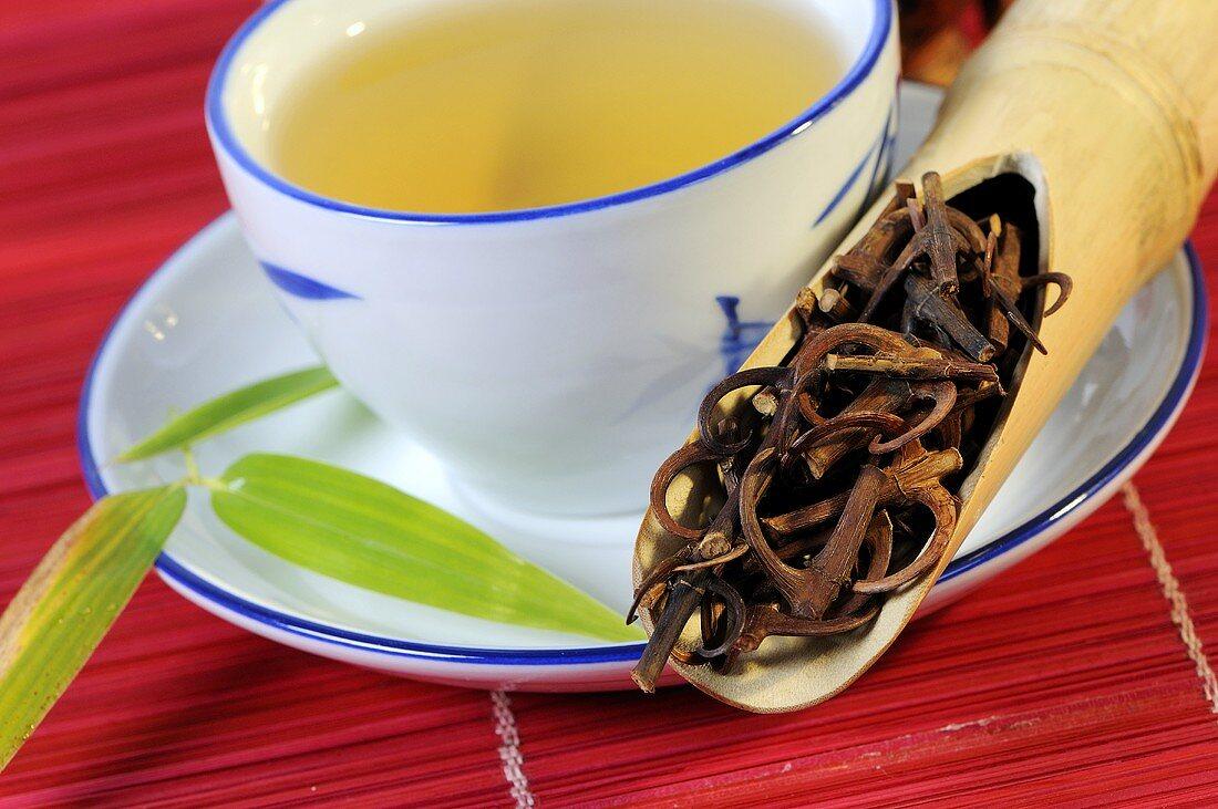 Uncaria-Zweige und Dornen mit einer Tasse Tee