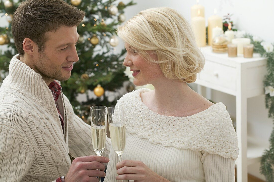 Man & woman clinking glasses of sparkling wine (Christmas)