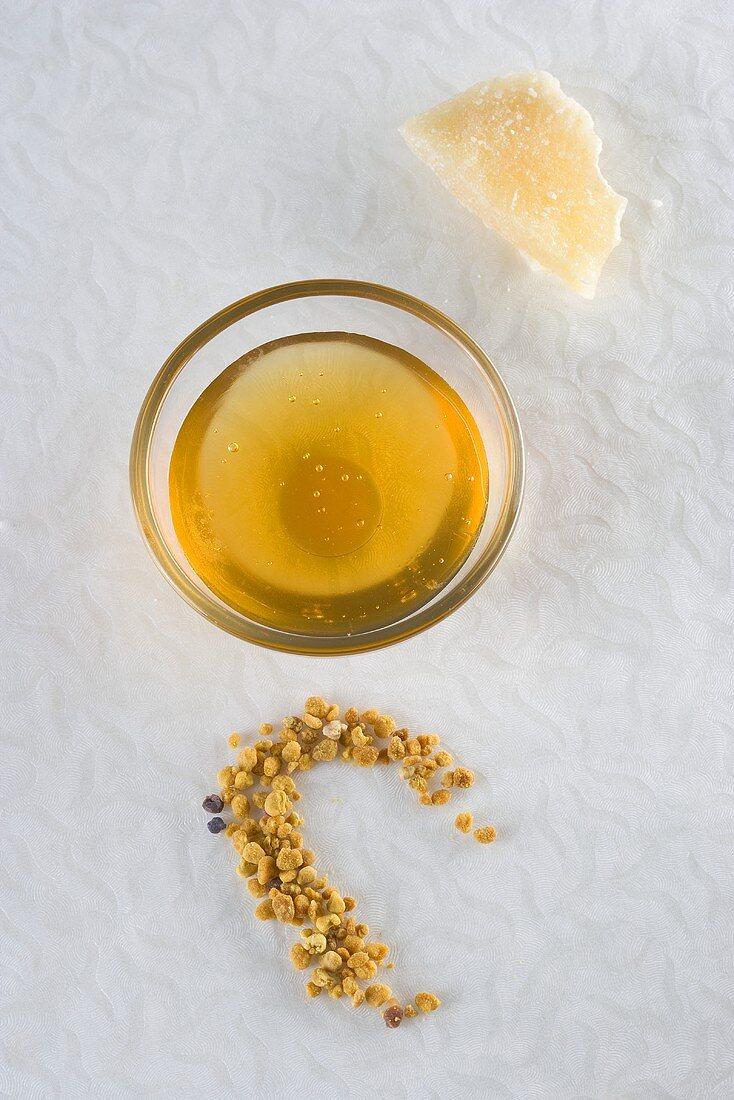 Honey, beeswax and pollen