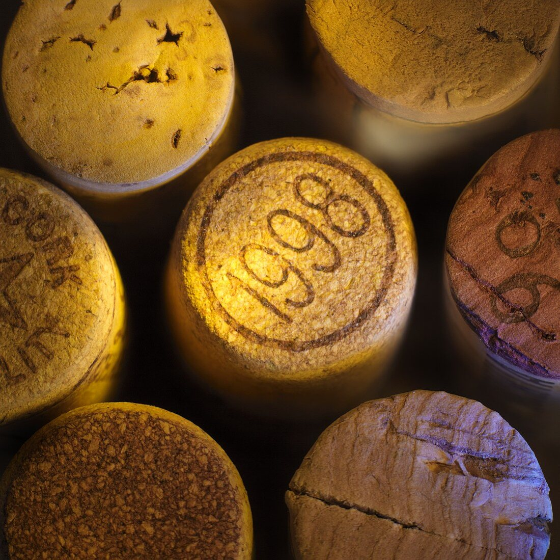 Several wine corks (overhead view)