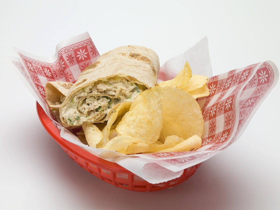 Wrap with crisps in a plastic basket