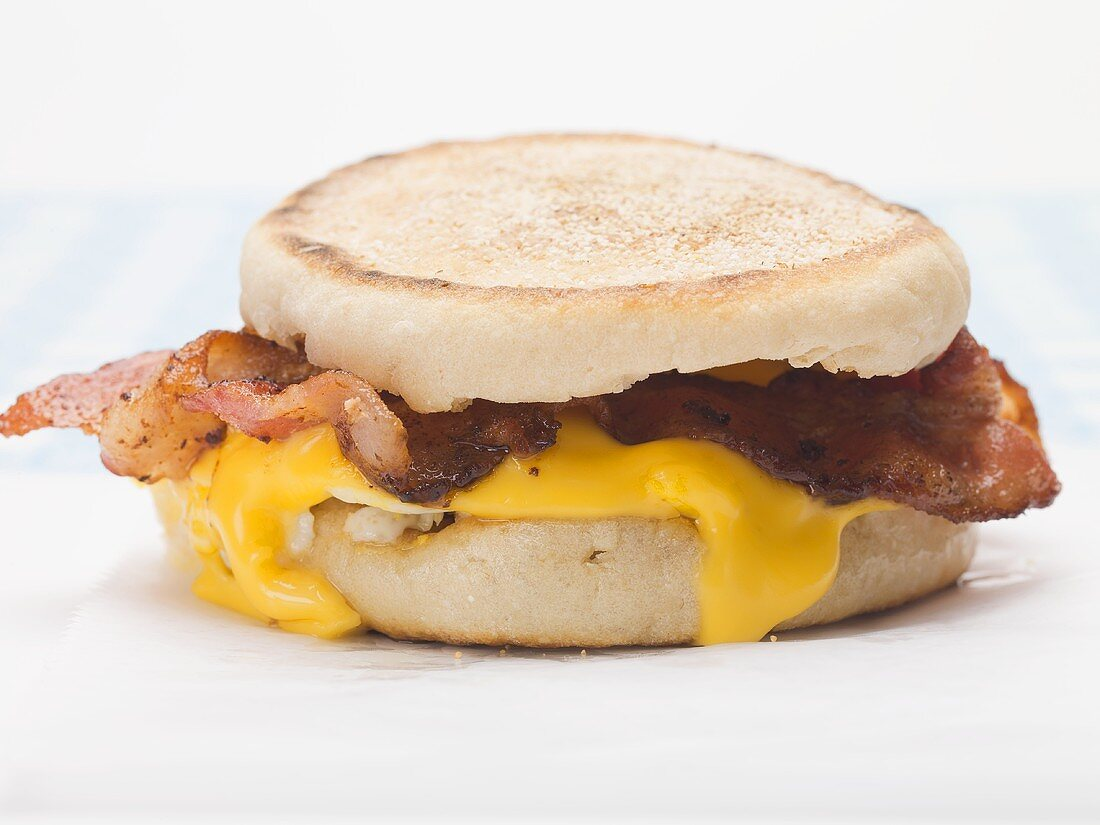 English muffin filled with bacon and cheese