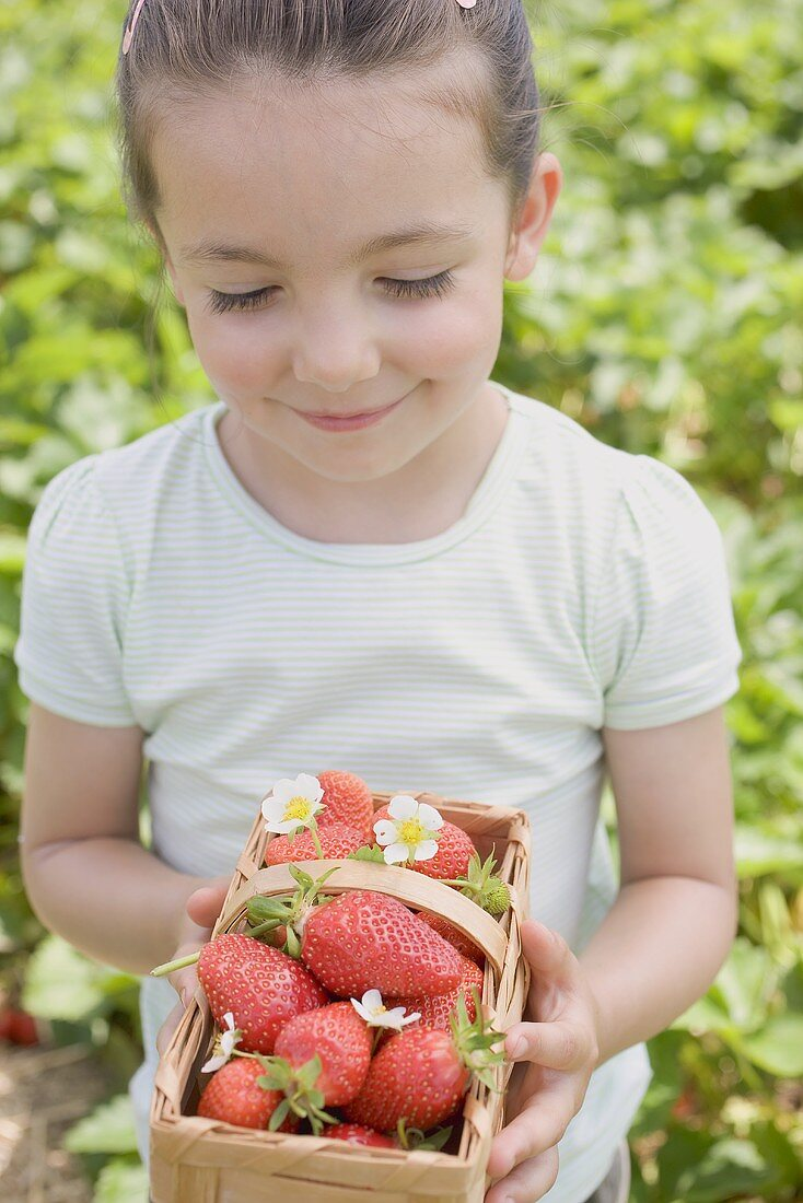 Little girl holding basket of strawberries