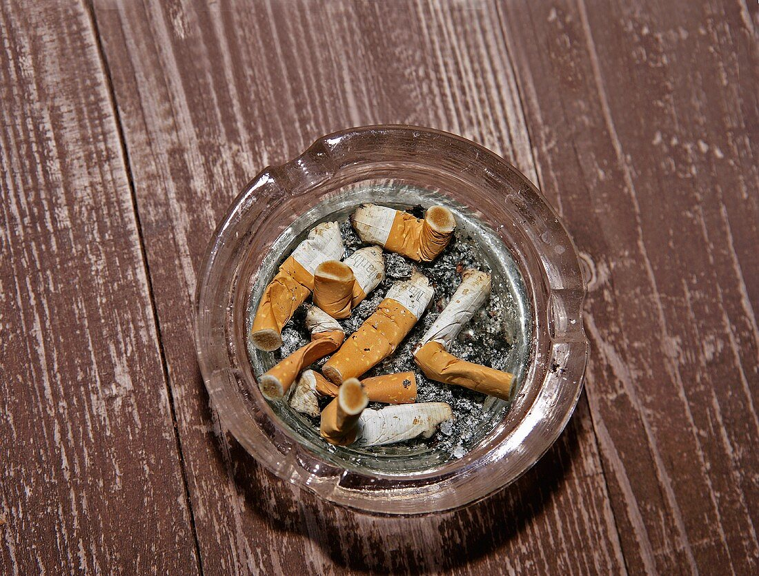 Cigarette ends in an ashtray