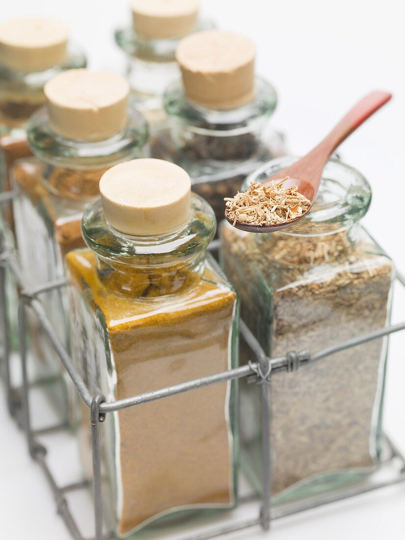 Various spices in small glass bottles and on spoon