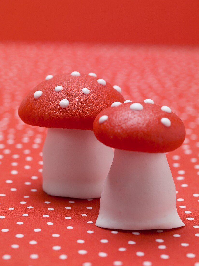 Marzipan fly agaric mushrooms