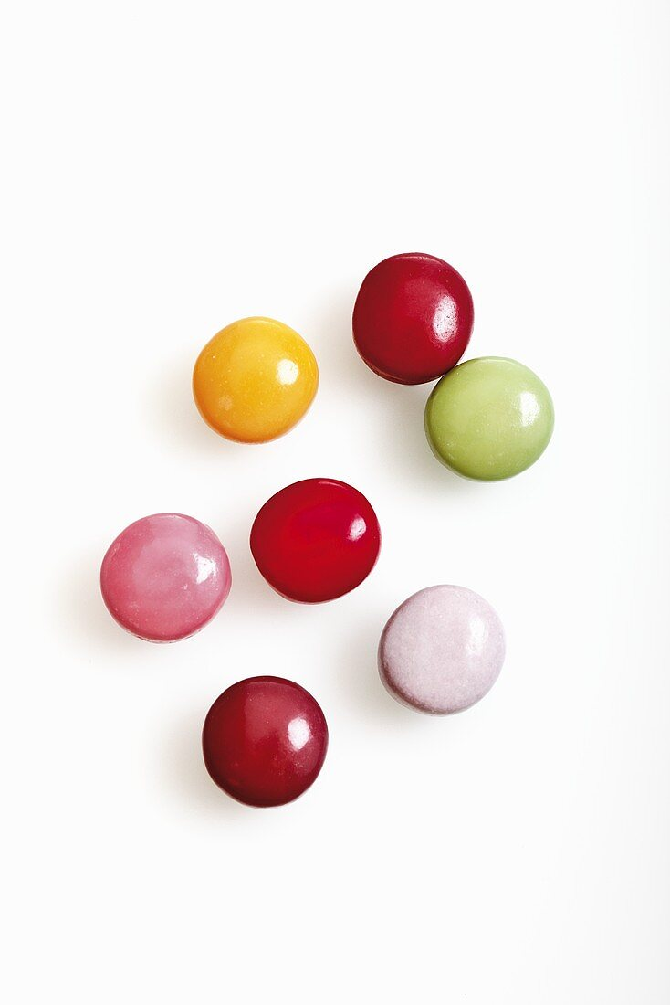 Coloured chewing gum pellets (overhead view)