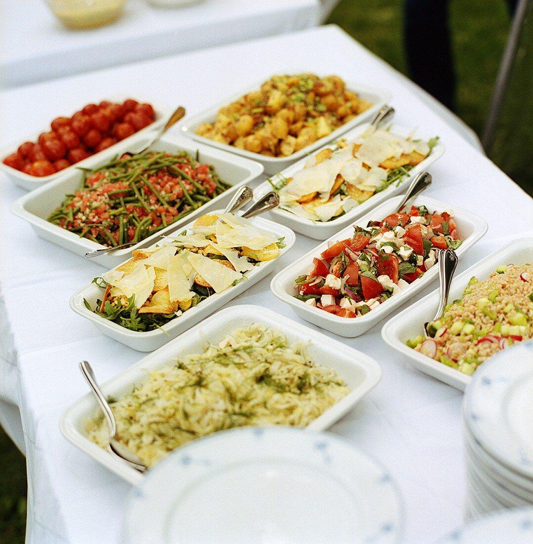 Buffet of assorted salads