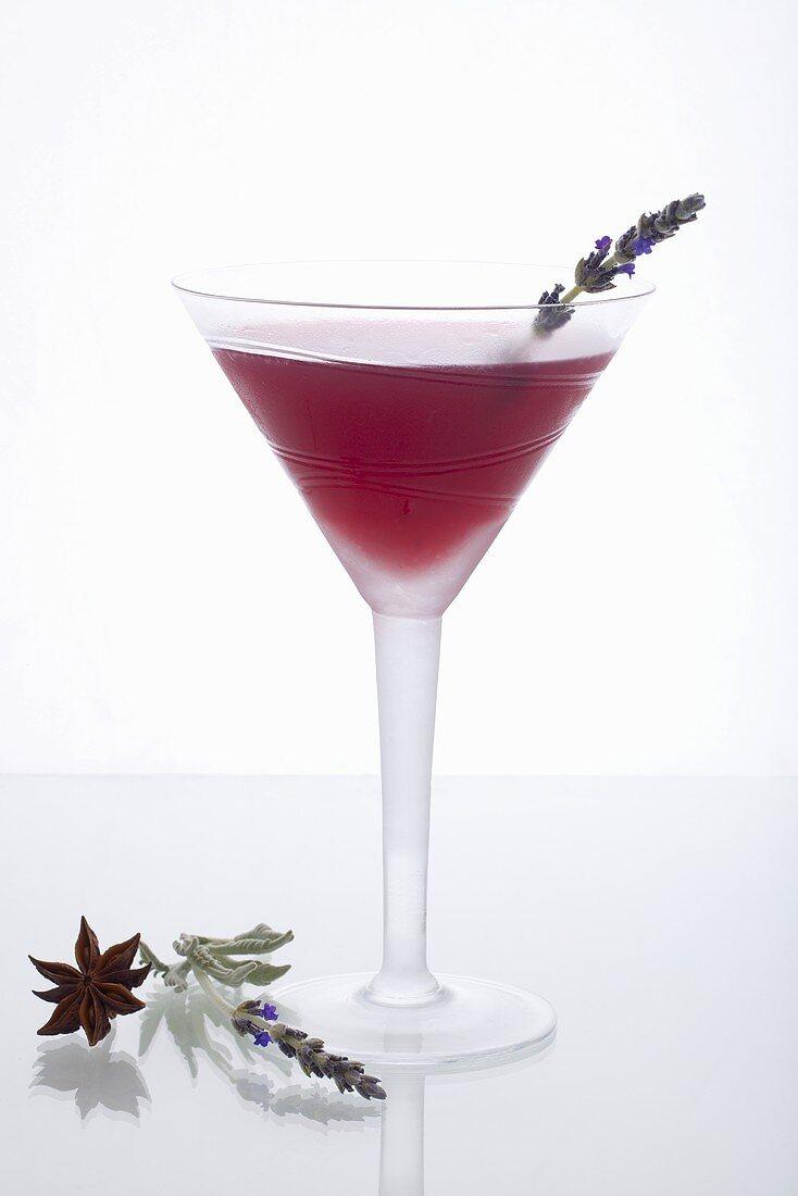 Orange Blossom Cocktail Garnished with Lavender Sprig